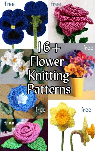 Free Flower Knitting Patterns | Stricken, Häkelblumen und Gestrickte ...