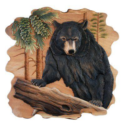 BLACK BEAR head WALL MOUNT Decoration LODGE CABIN Log