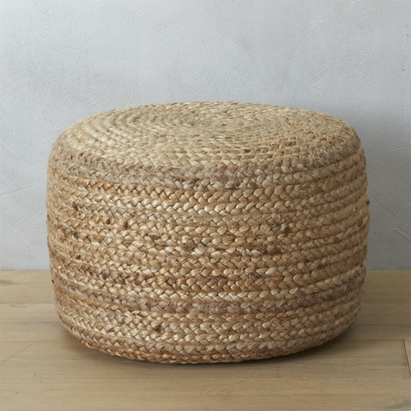 braided hemp pouf Ottomans, Trays and Extra seating