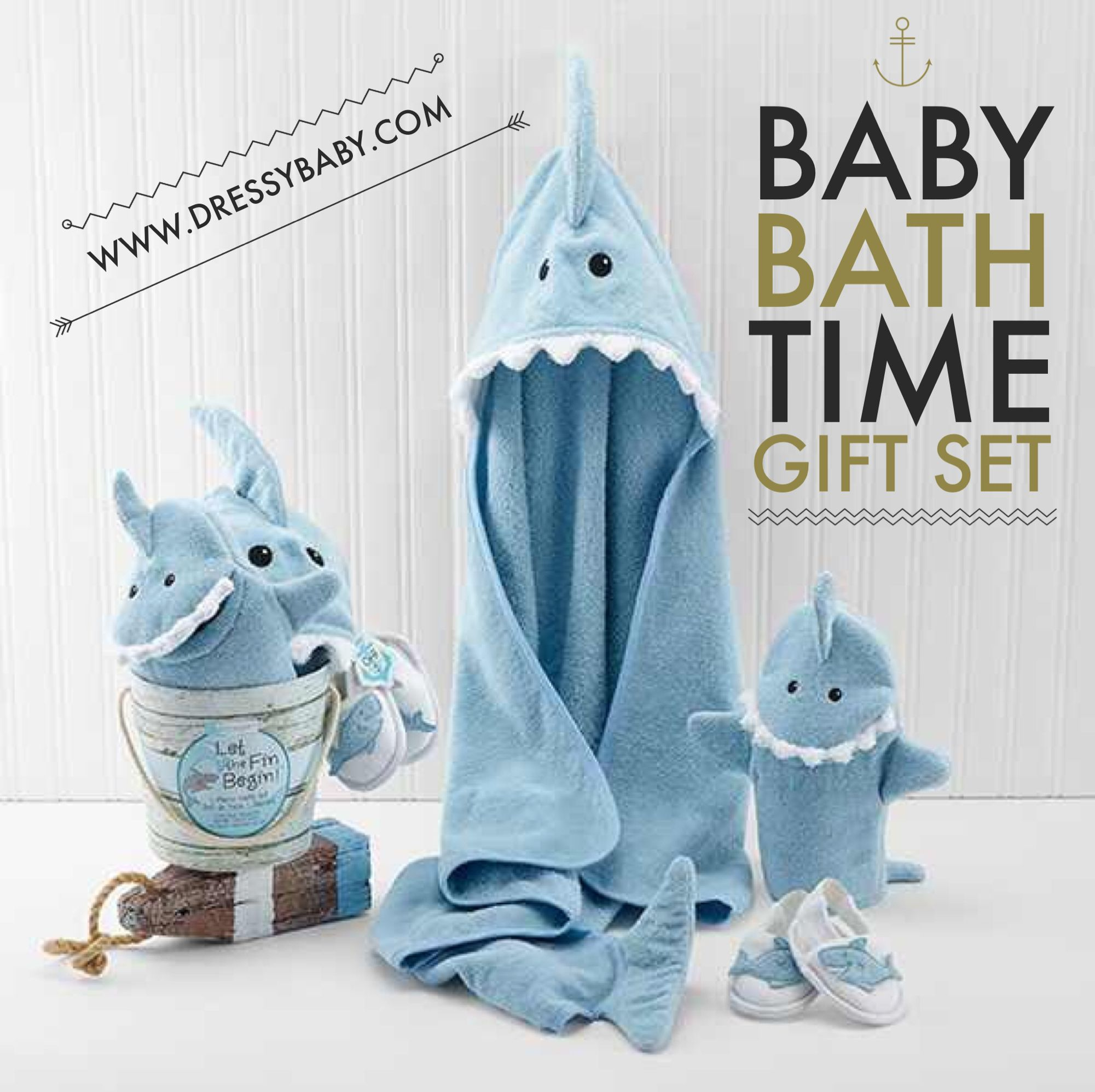 Baby Boy Shark Bath Time Fun Gift Set. Available at: www.DressyBaby ...