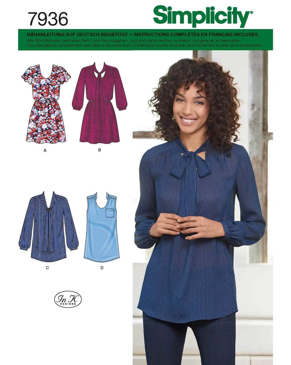 Dieses Schnittmuster enthält verschiedene Blusen und Blusenkleider ...