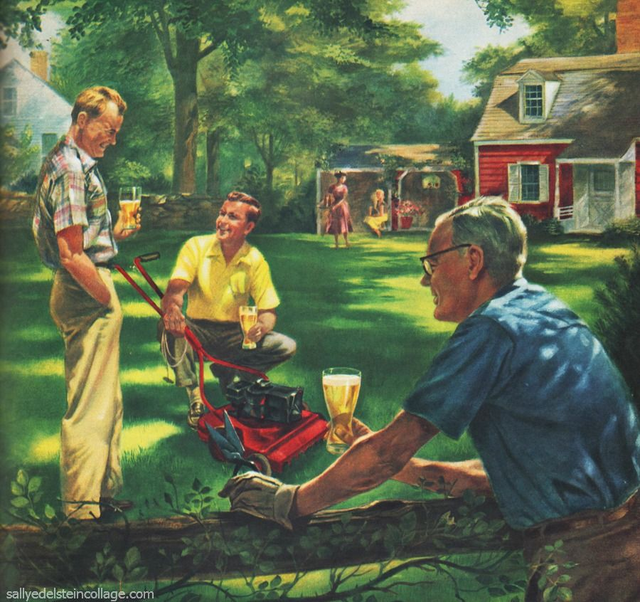 1950S Suburbia | Men in 1950s suburbia mowing lawns