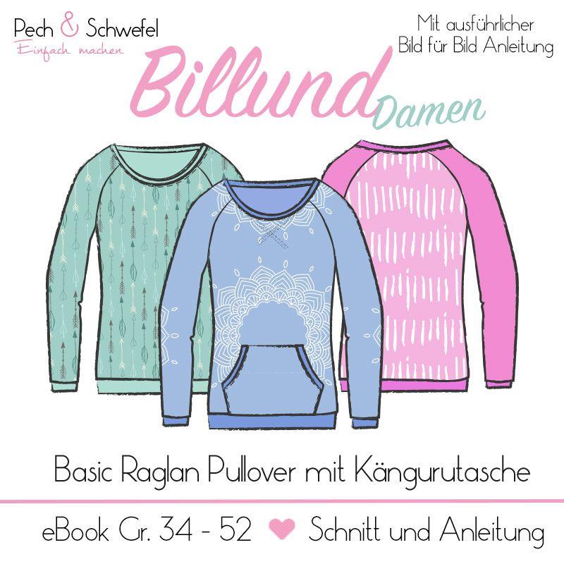 bc42ae3aa7 E-Book Schnittmuster Billund ein Basic Raglan Pullover für Damen bis Größe  54