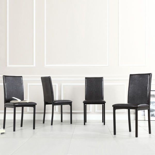 TRIBECCA HOME Darcy Espresso Metal Upholstered Dining Chair Set