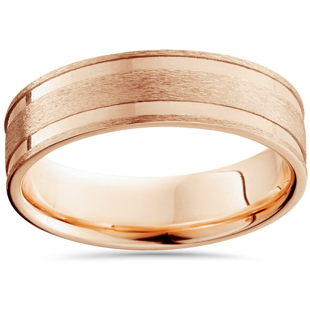 6MM 14K Rose Gold Mens Ring Brushed Bright Hand Carved