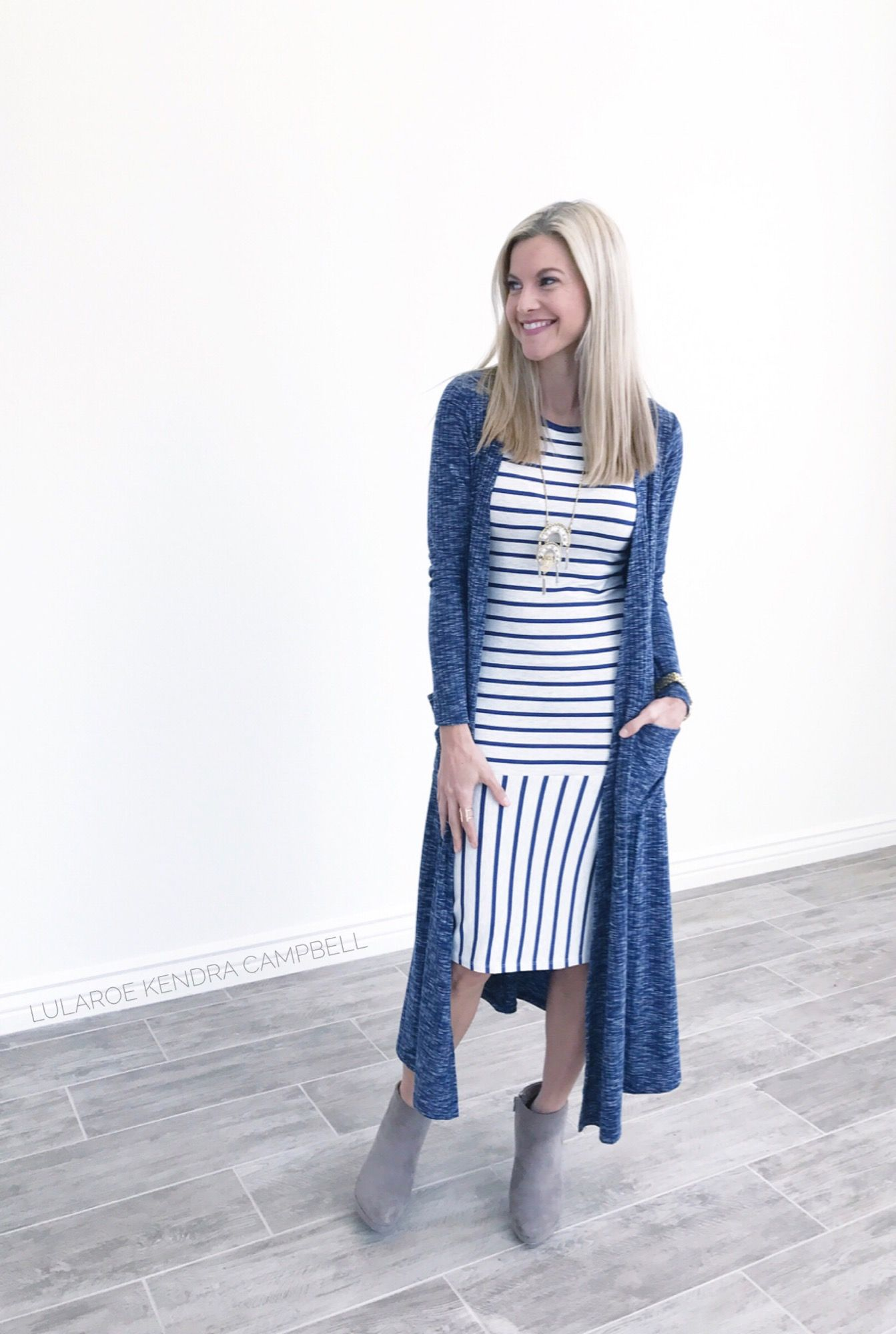 8497169147e I love this fun striped LuLaRoe Julia dress! Topped off with a LuLaRoe  Sarah cardigan. Click to shop LuLaRoe and for more styling ideas!