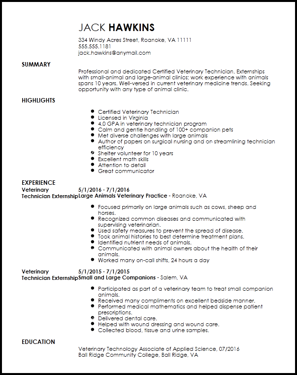 Veterinary Assistant Resume Examples Veterinary Assistant  Pinterest  Sample Resume And Template
