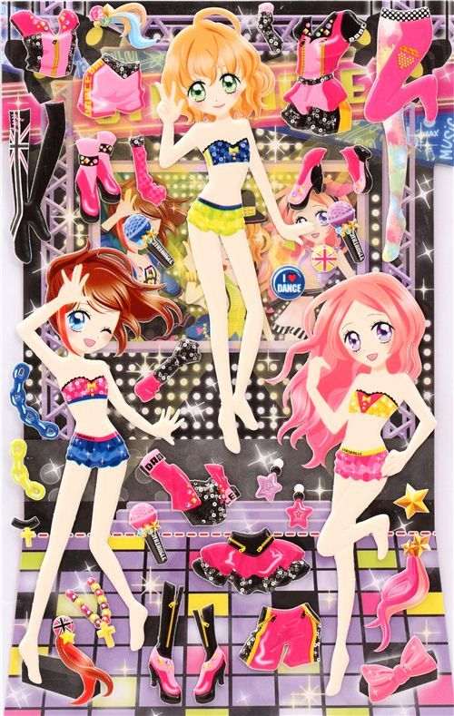 Japanese Kawaii Girls Dress Up Doll Puffy Dress Up Dolls Paper Dolls Puffy Stickers