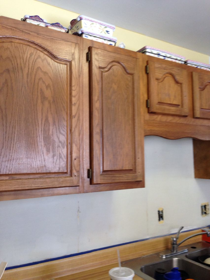 Before and after kitchen cabinets using Minwax Polyshades ...