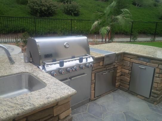 Weber Summit S 660 6 Burner Built In Natural Gas Grill In Stainless Steel With Grill Cover And Built In Thermometer 7460001 The Home Depot Natural Gas Grill Outdoor Kitchen Design Built In Grill