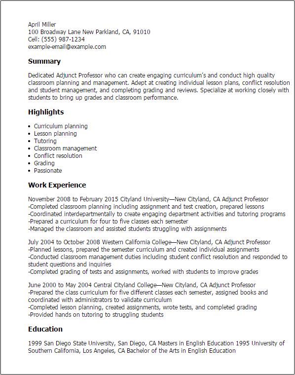 Resume Templates Adjunct Professor Adjunct Professor College Resume Adjunct Teaching