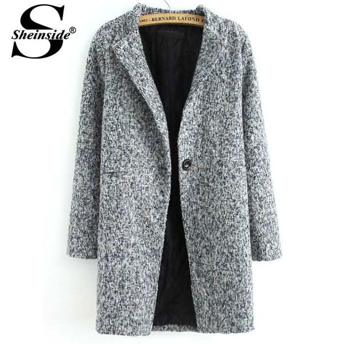 29.40€ - Sheinside Autumn Winter Women Clothing Casual Tops Outerwear New Arrival Fashion Grey Long Sleeve Single Button Tweed Coat - Sheinside Group Co. Ltd.