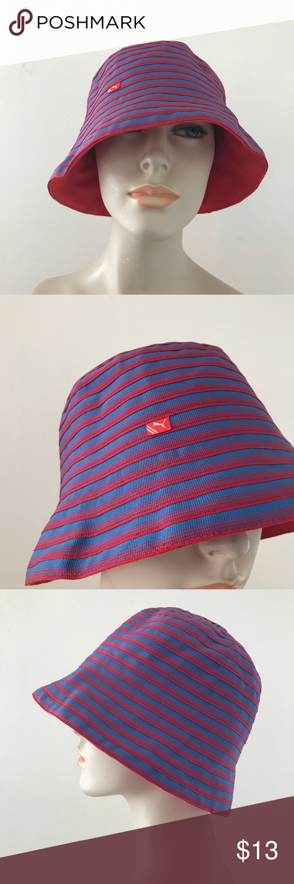 b69cf37fbca1c Puma Reversible Red Blue Striped Sun Bucket Hat OS Puma Reversible hat Red    blue textured stripes on one side and solid red on the other Excellent ...