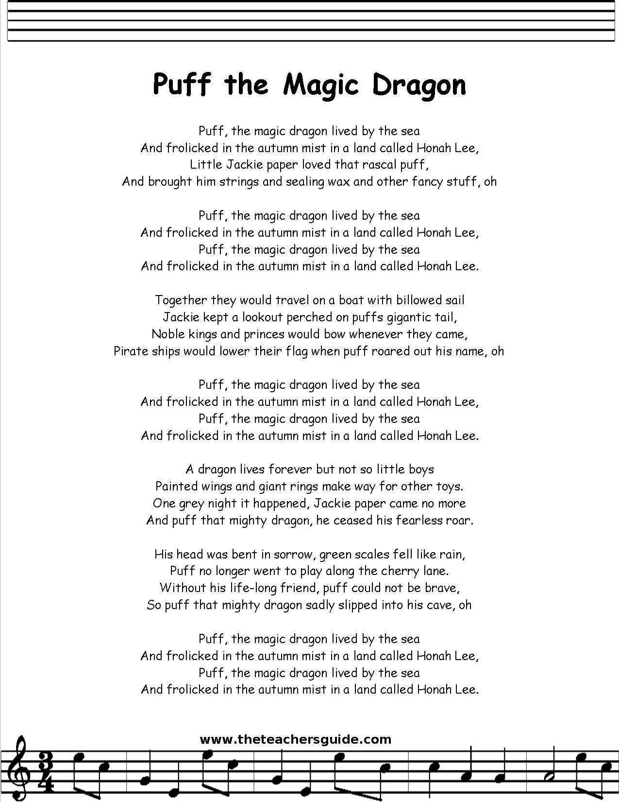 Puff The Magic Dragon Lyrics Printout