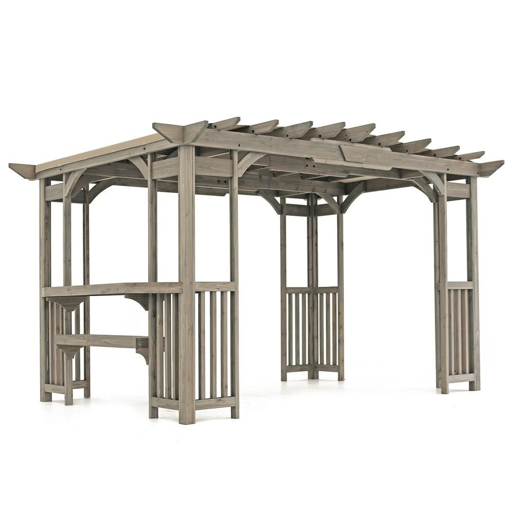 Yardistry 10 Ft X 14 Ft Madison Pergola With Bar And Sunshade Grays Cedar Pergola Pergola Gazebo