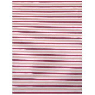 Pink/ Beige Outdoor Reversible Patio Rug