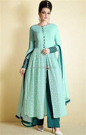 Latest Pakistani Dress In Blue Color Made From Net Fabric