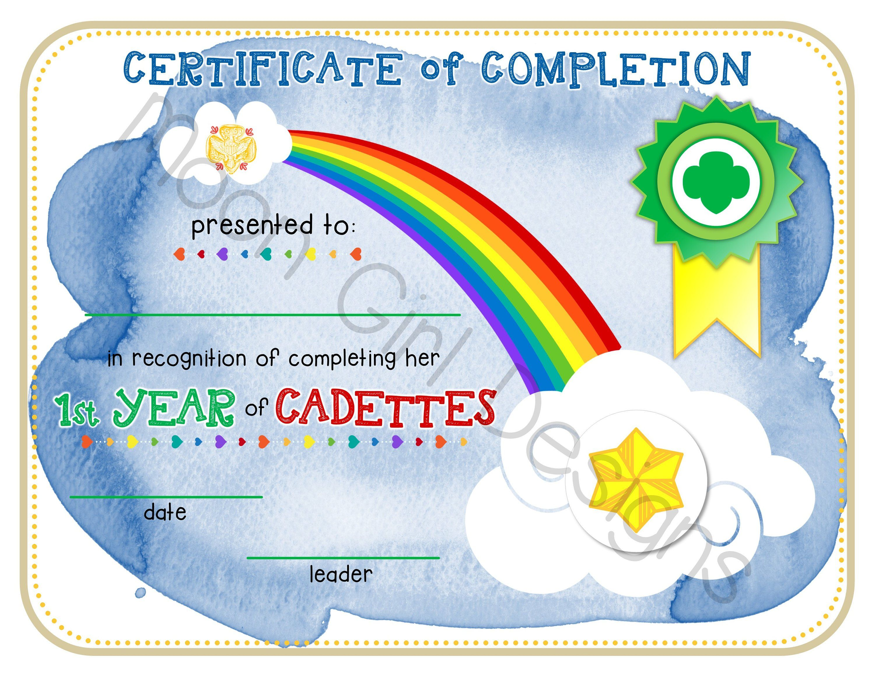 Cadette Girl Scout 1st Year Completion Certificate