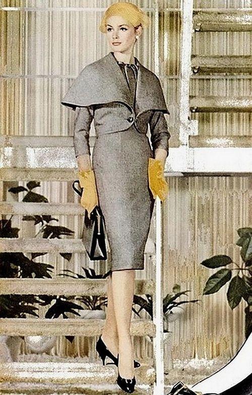 Suit Fashion For Life Magazine 1959 Grey Suit Cape Jacket Dress