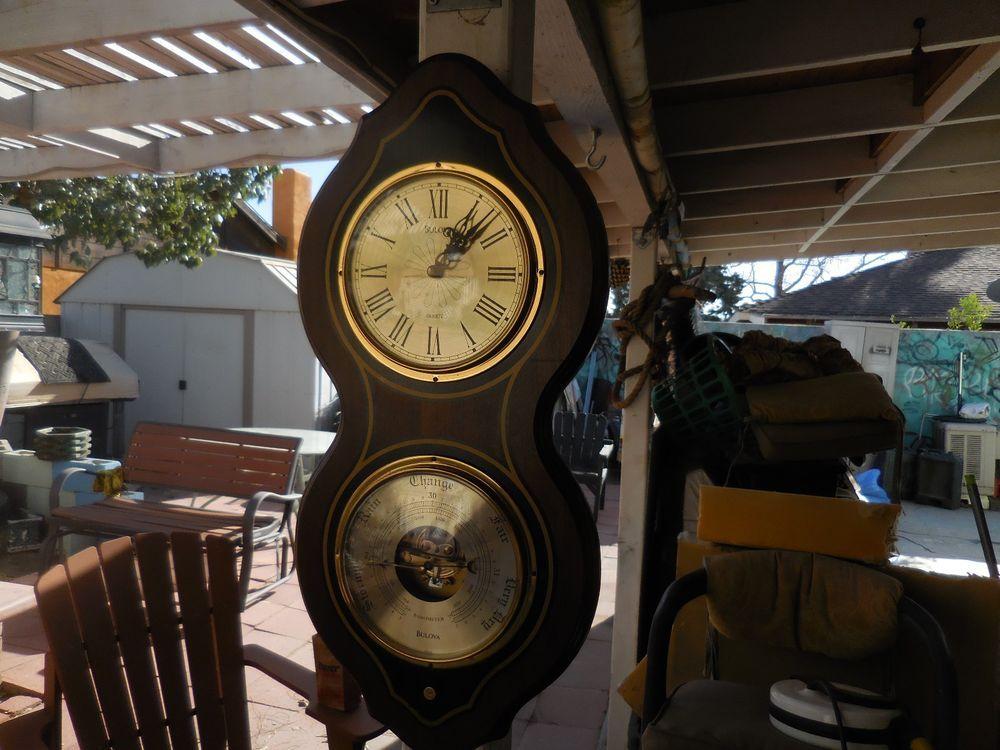 Vintage Bulova Quartz Clock And Mechanical Barometer Made In France Quartz Clock Antique Wall Clock Clock