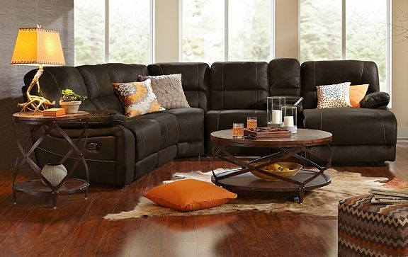 American Signature Furniture Wyoming Saddle Leather Collection 5 Pc Reclining Sectional 1 699 95