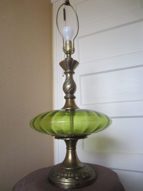 Gorgeous Mid Century Green Glass Table Lamp By Oneeyedodie Vintage Lamps Swag Lamp Old Lamps