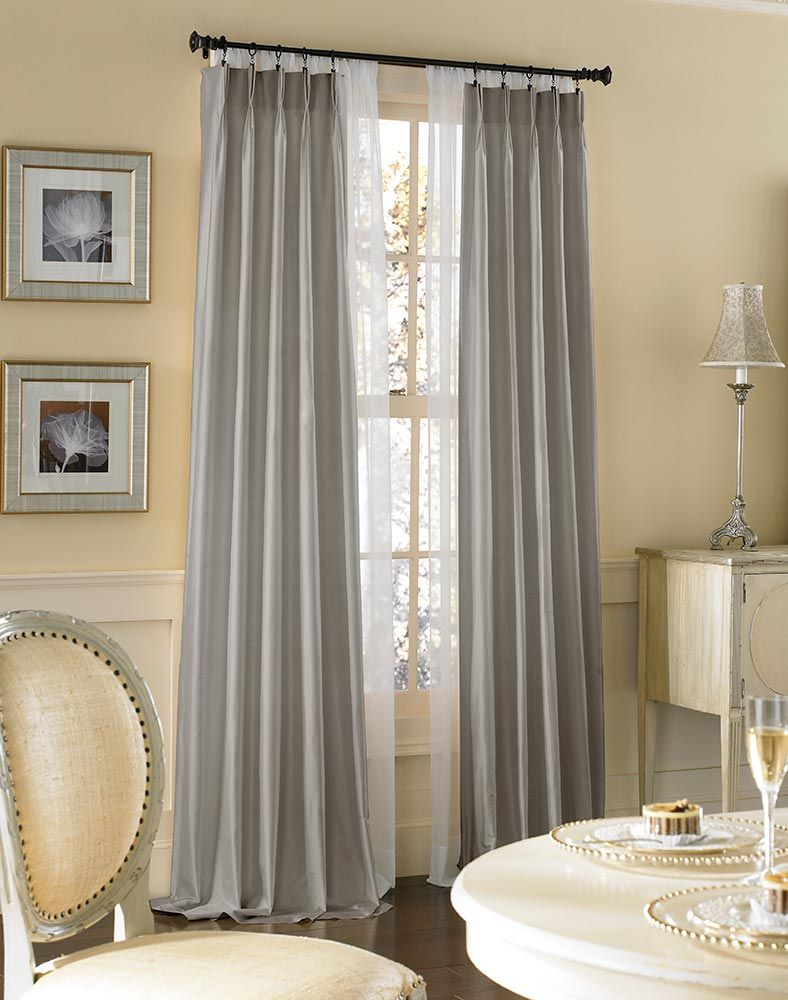 Pottery barn silk curtains - Dupioni Silk Pinch Pleat Luxury Curtain Panel Curtainworks Com