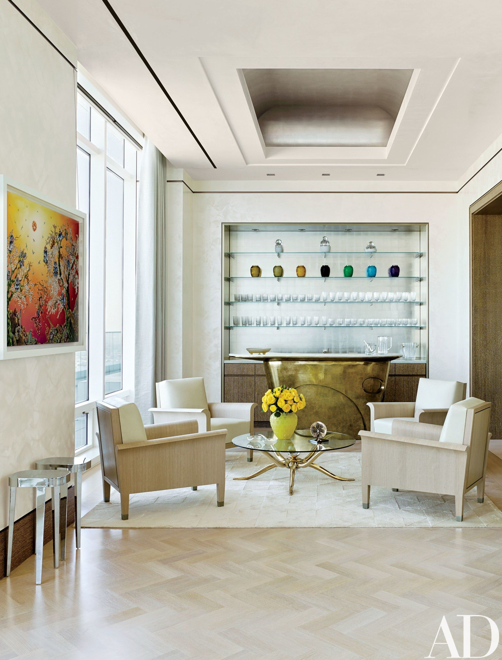 American modern living room - Living Room Rockwell Group Creates A Modern New York Apartment Architectural Digest Bronze Bar With White Onyx Top Like Frances Adler Elkins As In
