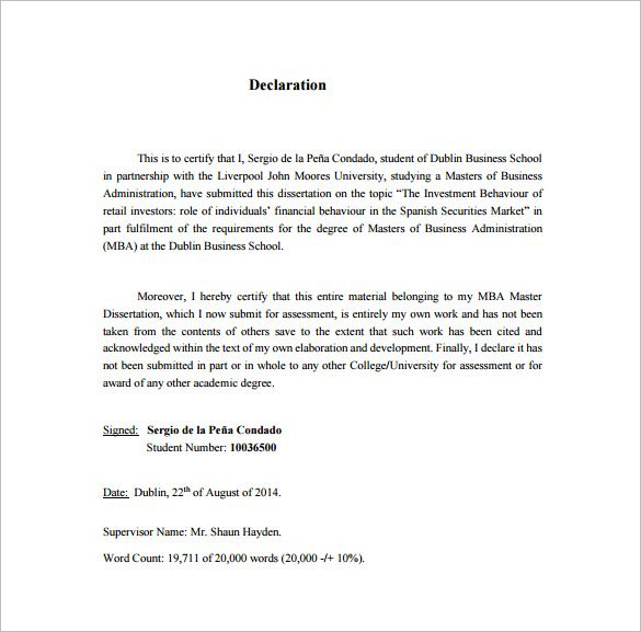 Dissertation Proposal Template Free Sample Example Format Word