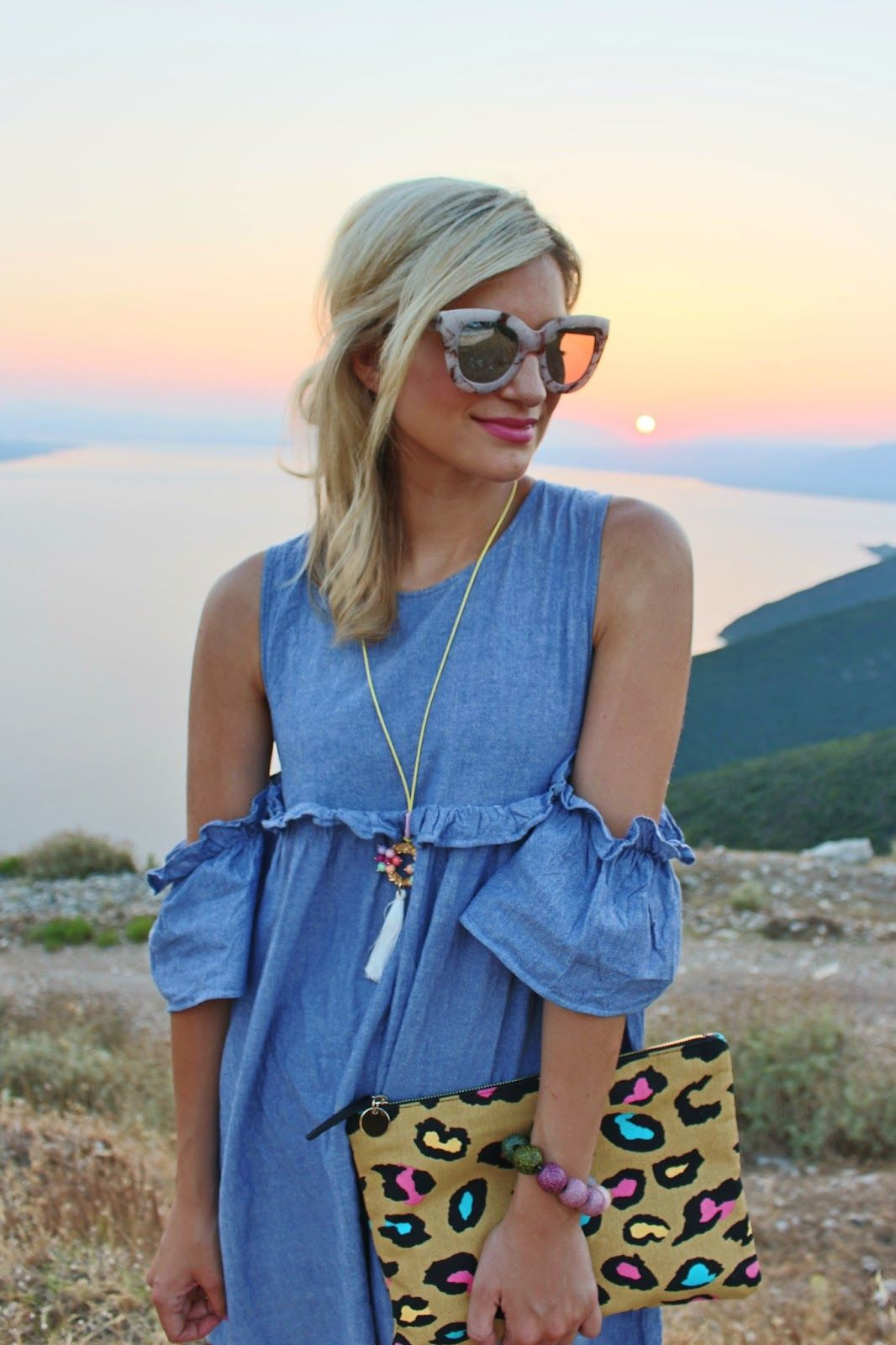Bijuleni- Boohoo cold shoulder dress with ruffled sleeves and Quay Australia marble sunglasses
