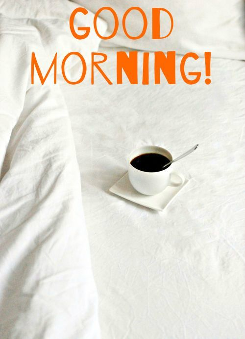 High Quality Good Morning Card For Media With Coffee Mug On The Bed