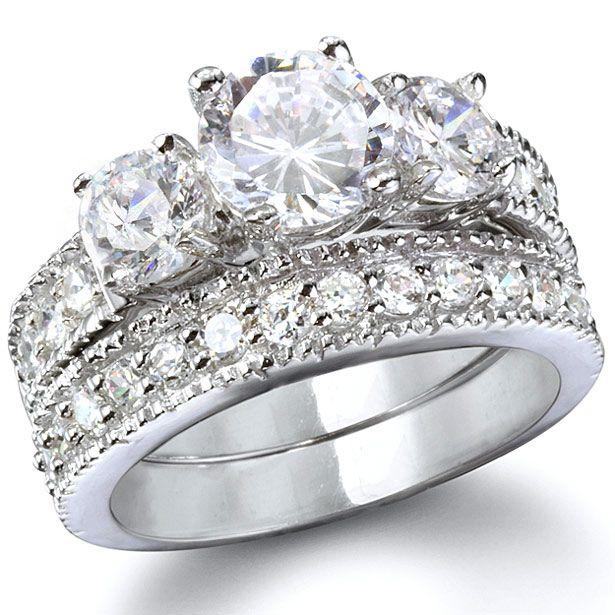 Gianna S Intricate Three Stone Cz Wedding Ring Set 5 Sterling