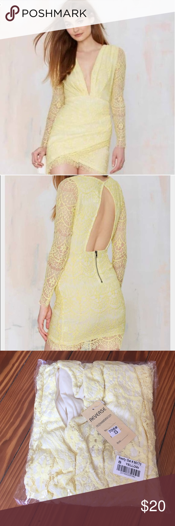 Yellow Lace Dress Yellow lace dress brand new still in wrapping size small never worn .. Bought on nasty girl Nasty Gal Dresses Mini