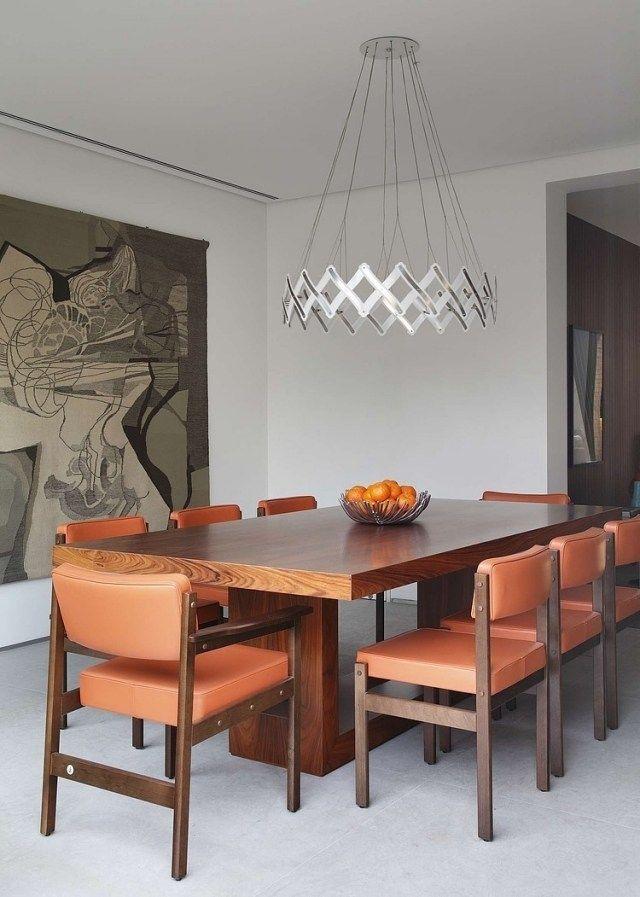Esszimmer Deckenleuchte Stahl Holz Esstisch Orange Stühle