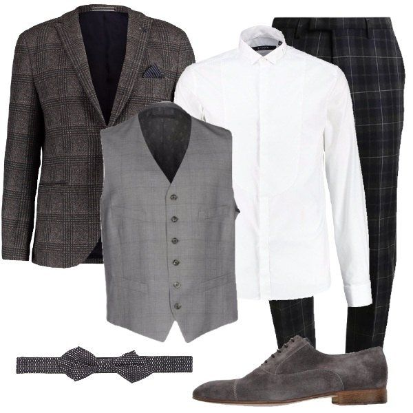 the latest 64856 0a482 Look hipster, composto da giacca grigia a scacchi colletto a ...