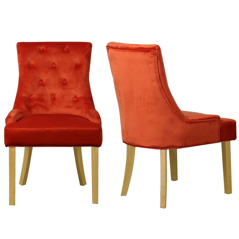 Kaylee Burnt Orange Pair Of Velvet Dining Chairs With Oak Legs
