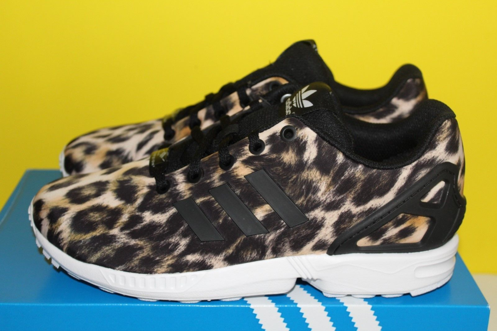new concept 79e68 41e7b Adidas ZX Flux Leopard Animal Print Torsion Juniors Girls 5 - 7 Trainers  B25642   eBay