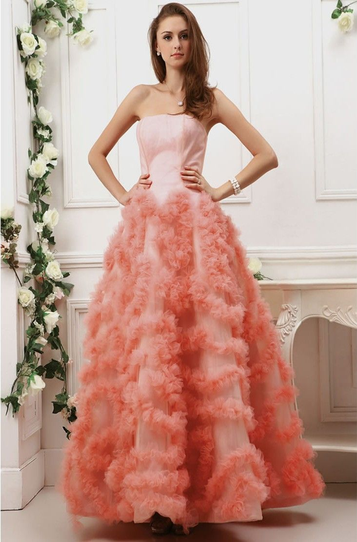 Soft tulle strapless bodice full length ball gown prom dress prom