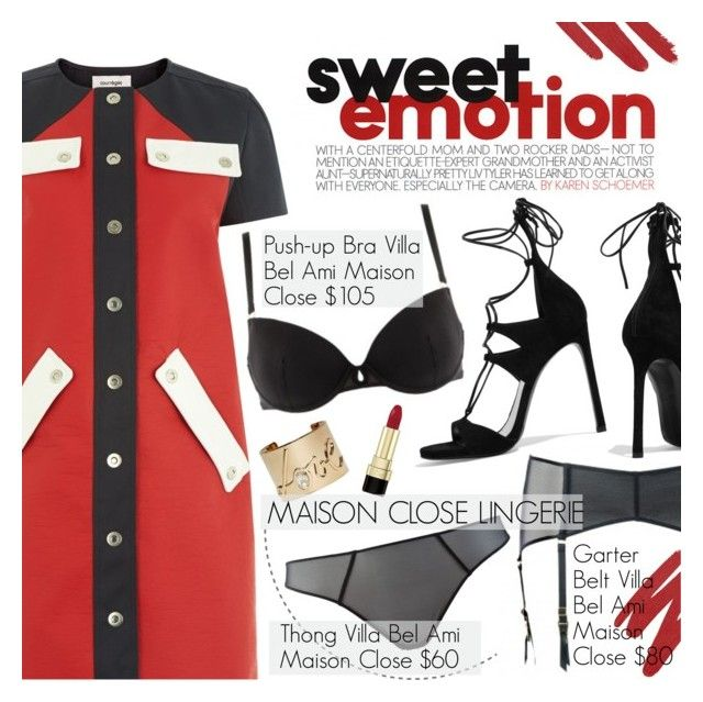 """""""Sweet Emotion"""" by pokadoll ❤ liked on Polyvore featuring Courrèges, Maison Close, Stuart Weitzman, NARS Cosmetics, Lanvin, Dolce&Gabbana and maisonclose"""