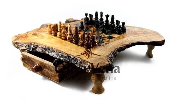 Oliva Vena Chess Board Wood Slab Table Chess Set