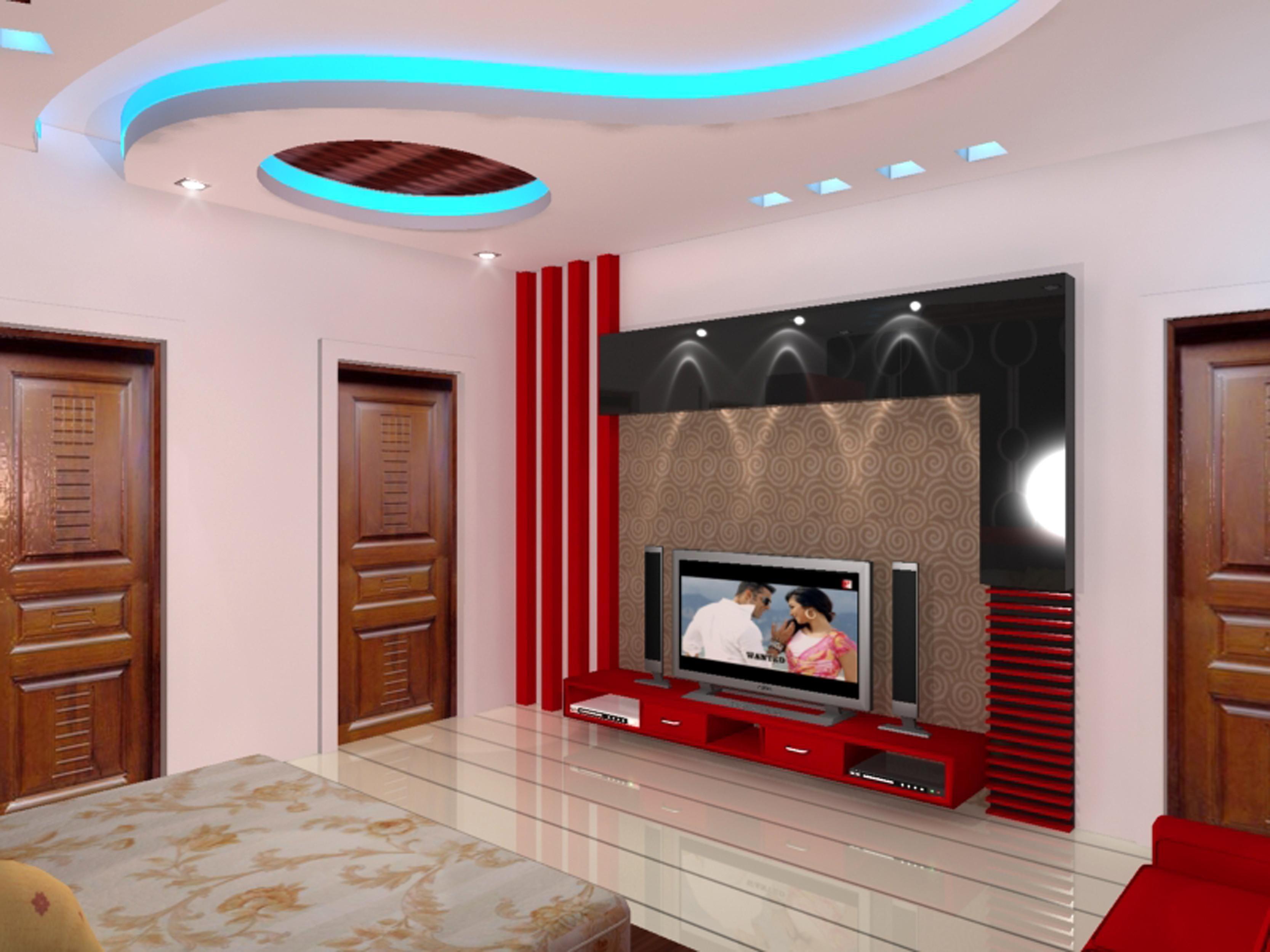 Blue Lights Pop Ceiling Decorating For Master Bedroom With Flat Tv