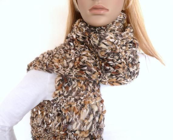 Photo of Hand Knit Scarf in Brown