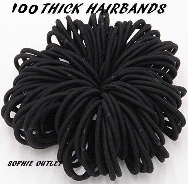 30 x BLACK THIN Snag Free Endless Hair Elastics Bobbles Hair Bands Bobble Band