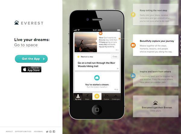 Example of mobile app website design: Everest | Web Design ...