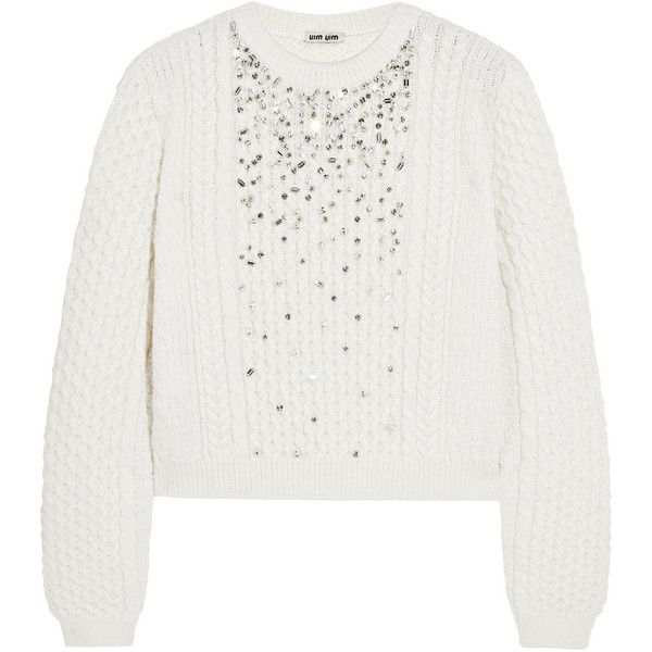 Miu Miu Crystal-embellished cable-knit sweater (£458) ❤ liked on Polyvore featuring tops, sweaters, white, white top, chunky knit sweater, thick knit sweater, chunky cable sweater and relaxed fit tops
