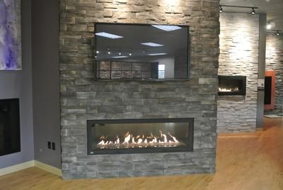 Napoleon LHD62 linear gas fireplace, Dutch Quality Ashen Drystack stone - Napoleon LHD62 Linear Gas Fireplace, Dutch Quality Ashen Drystack