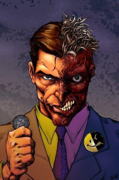 Two-Face (Harvey Dent) (DC) | Two faces, Comic villains