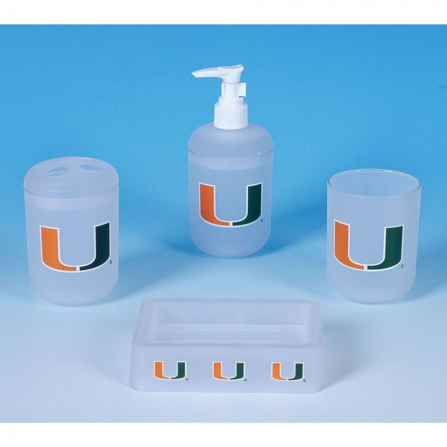 championship home accessories miami hurricanes 4 piece bath set 8528 - Bathroom Accessories Miami