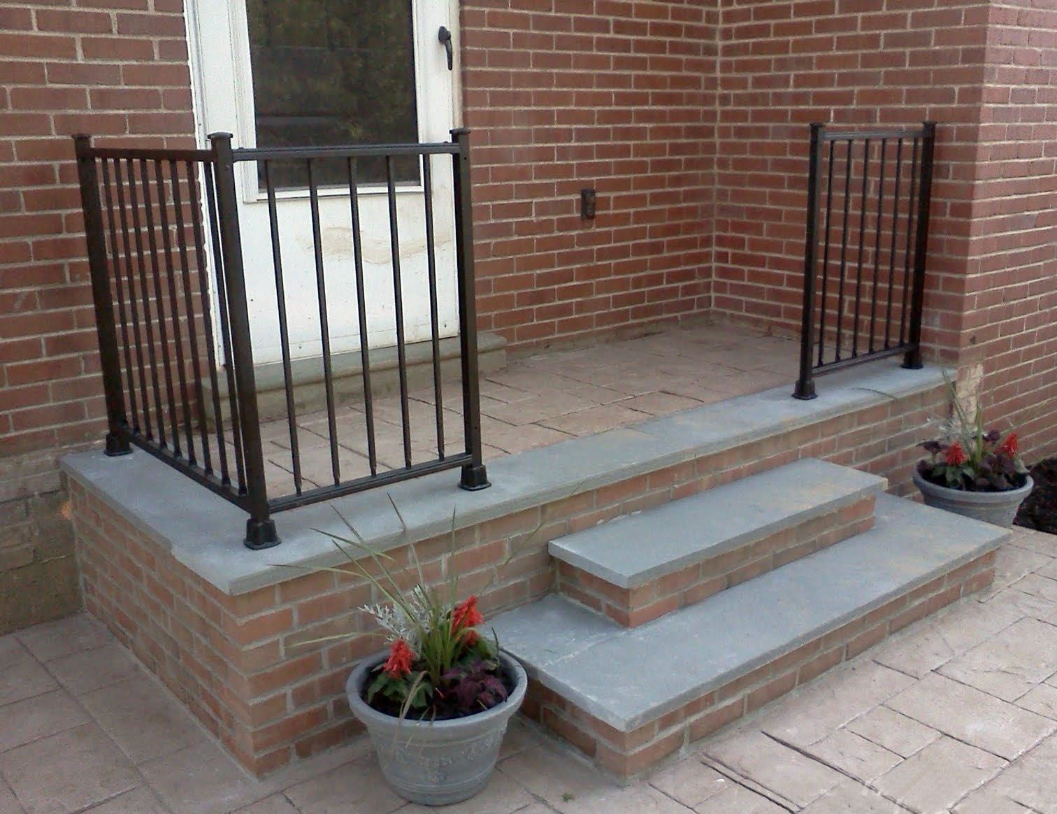 Steps Combination Between PA Bluestone Treads, Stamped Concrete Landing And  Veneer Brick Risers