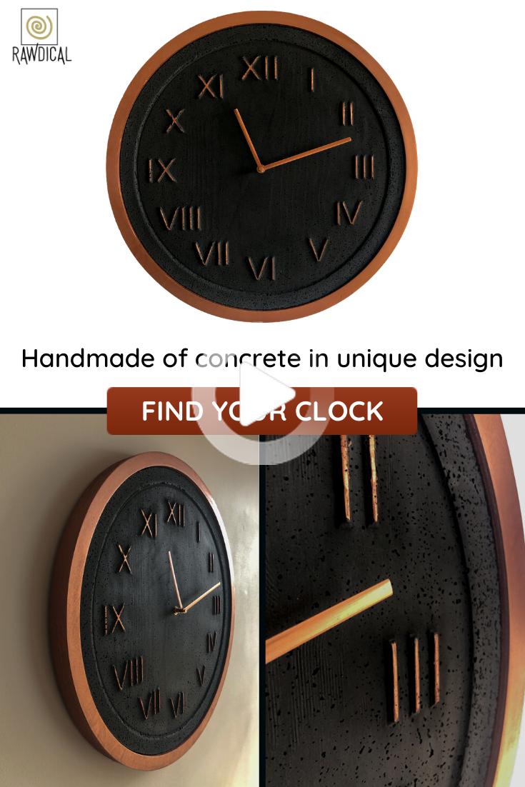 Epoch Metallic Frame Grafite Rame Orologio Da Parete Calcestruzzo In 2020 Copper Frame Handmade Wall Clocks Wall Clock
